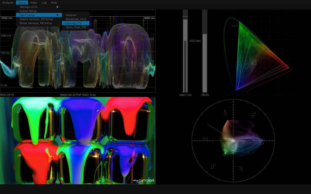AJA HDR Image Analyzer 12G Choose Setups