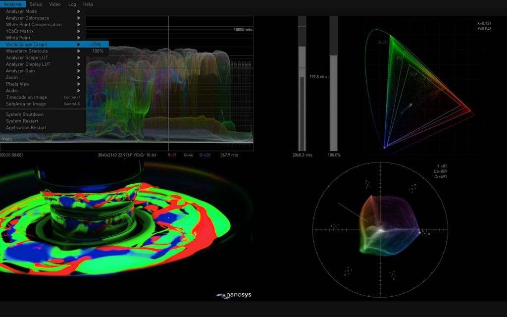 AJA HDR Image Analyzer 12G Vectorscope Targetting
